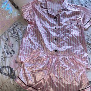 SHIEN silk pink and white stripped pj set